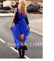 Irregular pleated chiffon dress vest, skirt  A574