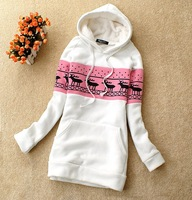 2012 casual pullover sweatshirt female autumn and winter onta pattern sweet loose plus size fleece sweatshirt female