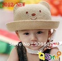 Free Shipping 2012 Korean version winnie straw hat, Baby sun cap, Bucket hats, Children's summer caps, 3 color