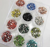 12000pcs/lot 3mm Resin rhinestones 12colors hot fix rhinestones flat back rhinestones phone jewelry decoration Nail Accessories