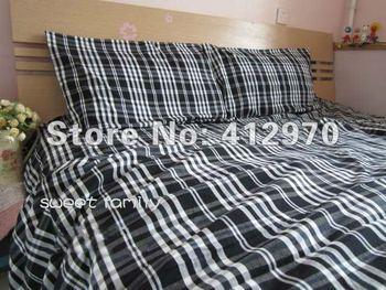 high quality Thin Plaid Cotton Old Coarse Cloth   handweaving ser duvet cover bedding set quilt/bed sheet /black&white lattice