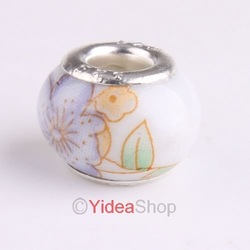 Wholesale - 100pcs cream Artistic Ceramic Charms Beads Fit Bracelets 150283(China (Mainland))