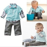 Free shipping, children suits, long sleeve olaid  t shirt  + jeanss (5Set/lot) ,boy sets .boy wear,