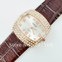 Hot Wholesale  fashion over drilling beautifully studded belt watch noble love shall drill a square dial brown