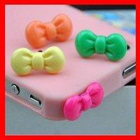 Free Shipping Minipol Ear Cap,Cute Bowknot 3.5MM Jack Anti Dust Ear Cap Plugs Stopper for iPhone4G/4S,30pcs/lot+retail package