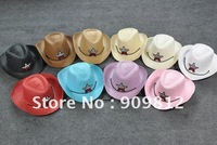 Free Shipping  Five-pointed star children straw hat, Cowboy cap, Baby sun hats, Children summer caps, 9 color