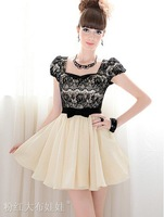 Free Shipping High Quality Elegant Fashion Puff Sleeves Bowknot Embellished Slim Dresss, Summer Women's Dresses/Wholesale/Retail