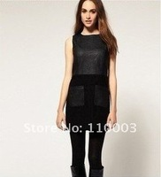 Solid color Slim round neck fight leather stitching dress A594