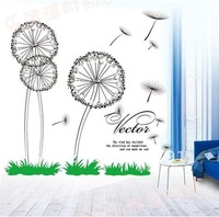 Free Shipping!  house decorative wall sticker paster/room sticker 1set=3 big dandelion and 8small dandelion, 50*70cm,SPC016