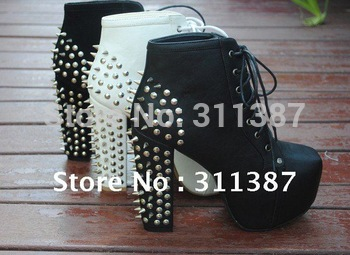 Free drop shipping 2013 new lace up platform pumps fashion ankle boots for women shoes chunky high heels rivets spikes SXX04003