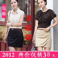 Женские толстовки и Кофты 2012 Spring Autumn New Fashion Women Lady Black Cocoa Color Gold Chain Long Three Quarter Pocket Cardigan Coat