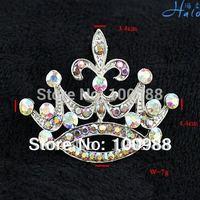 P233-233BI Free Shiping 10PC/Lot White Crystal AB Rhinestone Bead Royal King Crown Fashion Jewel Costume Pin Brooch