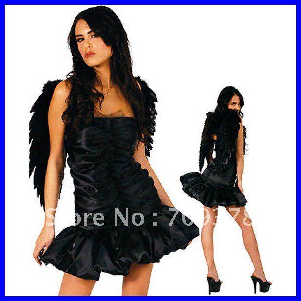 Free shipping Dark Angel Costume Women dress 2012 Halloween costume wholesale 10pcs/lot Fancy dress costume 8229(China (Mainland))