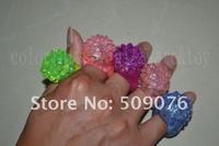 Free shipping 50pcs/lot 3*4cm 4color led finger ring flower ring for wedding favors