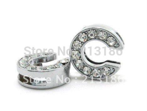 50pcs 10mm C rhinestone slide letter fit diy bracelet(China (Mainland))