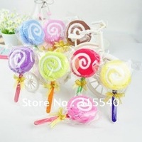 Free shipping(50pcs/lot), Pure cotton cake towels, Candy towels, Novelty wedding gift, Lovely lollipop towel with golden bowknot