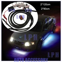 "Free shipping, 36"" x 2 & 24"" x 2  RGB Car Underbody Light Car Glow Flexible Led Strip Light Kit Neon with Remote Control"