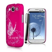 Newest Hard Rubber Laser Butterfly PC Case for Samsung Galaxy S3 S III i9300 ,100pcs/lot DHL/EMS free shipping