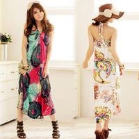 2012 bohemia halter-neck full dress beach dress plus size one-piece dress