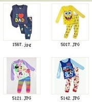 2012 The newest style 5 designs 30set/lot  cartoon Kid's pajamases,Sleepwear Suits, baby loungewear, children's 2pcs set