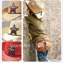 Best Selling!! Kids Straw Cowboy Hat / Multi-Color Boys Cowboy Cap Free Shipping(China (Mainland))
