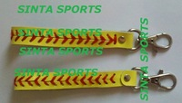 free shipping yellow real leather keychain with elastic for length adjustable softball seam keychain 200 pcs/lot
