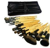 WHOLESALE !!!! HIGH QUALITY 32PCS Makeup Brushes Brush Set &Leather Case 6075# WOOD