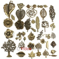 New Mixed Wholesale 40 Designs Charms Vintage Antique Bronze  Pendants Bead 40pcs141373