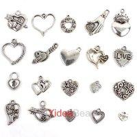 New Arrival Charms Heart Shape Tibetan silver  pendants Mixed 20 Designs 120pcs 141376 Free Shipping