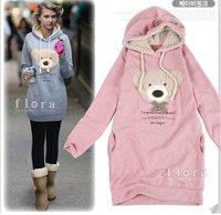 Free Shipping New Arrival  hoodie long top pullovers winter women's coat,hoodies Cute teddy bear Hot Sale