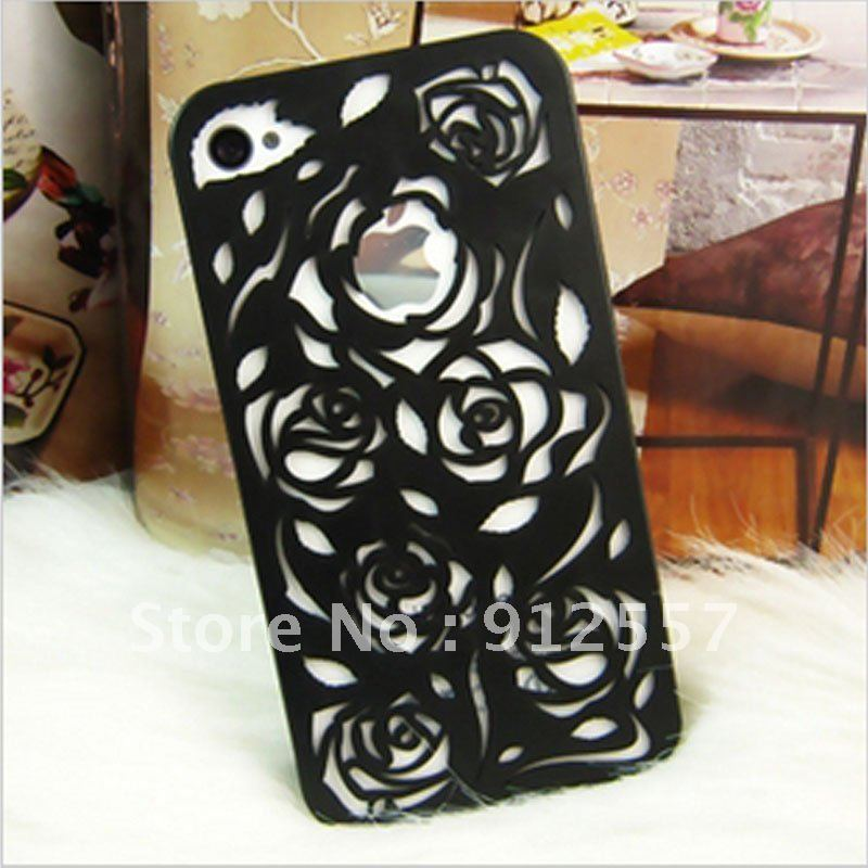High quality New Fashion Hollow Rose Hard Back Case Cover for iPhone 4 4G 4S Black(China (Mainland))