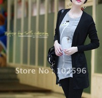 Free shipping .Autumn new arrival women&amp;#39;s medium-long slim thin outerwear sweater cardigan pink  black white 4  color