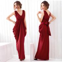 Fashion  sexy V-neck lacing bow slim ultra long one-piece evening dress /star