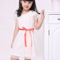 free shipping  5 size collarless dress girl's dress white dress red skirt  pleated skirt
