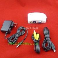 New TV RCA Composite S-video AV In to PC VGA LCD Out Converter Adapter Box TV TO VGA AV TO VGA