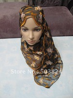 Muslim long Shawel with inner Cap Silk shawel new design islamic scarves Accept100