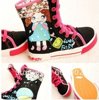2012 High-top canvas shoes Dance shoes for girls hand-painted shoes5pcs#663