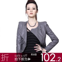 Leather clothing 2012 spring slim short design small leather clothing women jacket motorcycle jacket 0hf78i2