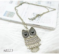 [Wholesale] 100pcs/Lot DHL Free Shipping Fashion Owl Necklace Vintage Sweater Chain Necklaces