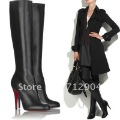 Free Shipping,2012 New Arrival Sexy boots,lady knee high Pointed Toe High Heels,Women Zip Leather Shoes,High Quality Pumps,Black
