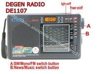 1pcs/lot DEGEN DE1107 FM Stereo MW SW Dual Conversion Radio World Band Receiver Alarm Quarz Clock, free shipping