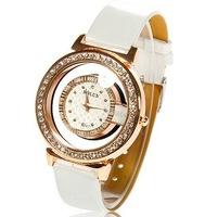Free shiping 2012 fashion hollow out crystal round leather women watch,simple waterclear hollow out qutarz student crystal watch