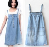 Free shipping,new loose big pocket denim braces skirt suspender skirt denim skirt