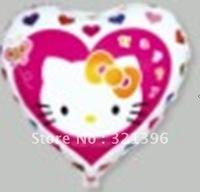 Free shipping Heart shape Hello Kitty Aluminum Foil balloons , mylar balloons, 100pcs a lot
