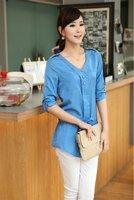Women Fashion Cotton V-neck 3/4 sleeve shirt Blouse 5 colors S M L XL XXL