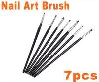 Black 7 PCS Nail Art Painting Brush Set,HB4617  Free Shipping, Dropshipping 5sets/lot,