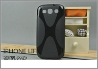 DHL Free shipping 100pcs  For Samsung Galaxy S3,X line Back TPU Gel Skin Cover for Galaxy SIII i9300