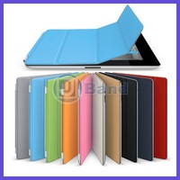 Smart cover leather case For The New iPad 3 For iPad 2 smart cover leather case Free Shipping