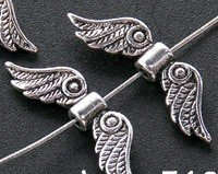 60 Tibet Silver Fancy Angel Wing Beads 0210