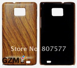 Wood Grain Series GZM Hard Back Cover Leather Case For Samsung galaxy s2 i9100 Free shipping Factory Direct Whole sale(China (Mainland))